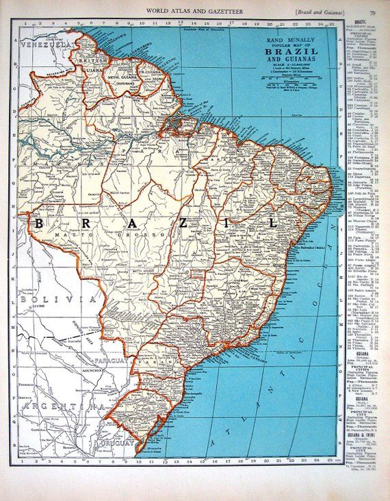 Mejores 4365 imgenes de brazil world cup 2014 soccer fifa mundial map of brazil and guianas and map of bolivia 1936 vintage map from world atlas gumiabroncs