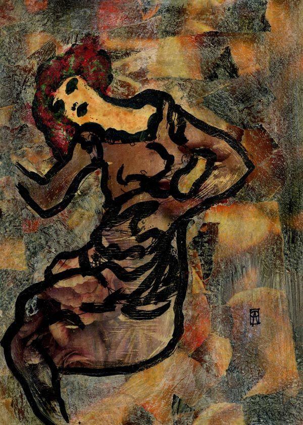 10-KARMA. Egon X (Pintura),  30x21 cm por Cris ACQUA Pintura mixta