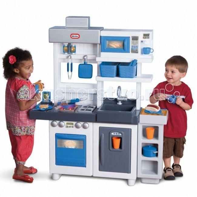 Little Tikes Кухня 484247  Что делать, если ребенок хочет участвовать в приготовлении еды, но плита горячая, ножи острые, и это слишком опасно? Представляем игровой центр Кухня от Little Tikes!  Тут есть все, что можно найти на настоящей кухне – плита, микроволновка, раковина, полочки и ящики для посуды, холодильник и даже кофе-машина! В комплект входит набор посуды, игрушечная еда – всего 38 аксессуаров.  Игрушечная кухня оснащена работающей конфоркой – при включении, она издает звуки, в…