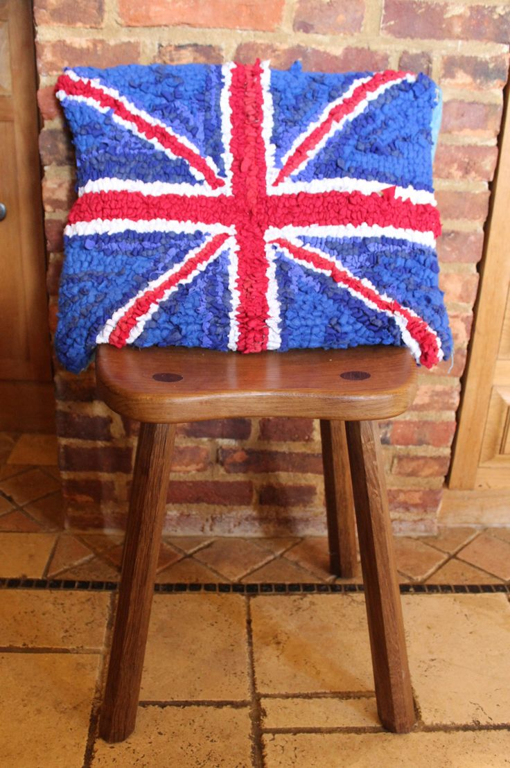 Ragged Life Union Jack Rag Rug Cushion On Stool Perfect For A Country Kitchen Or