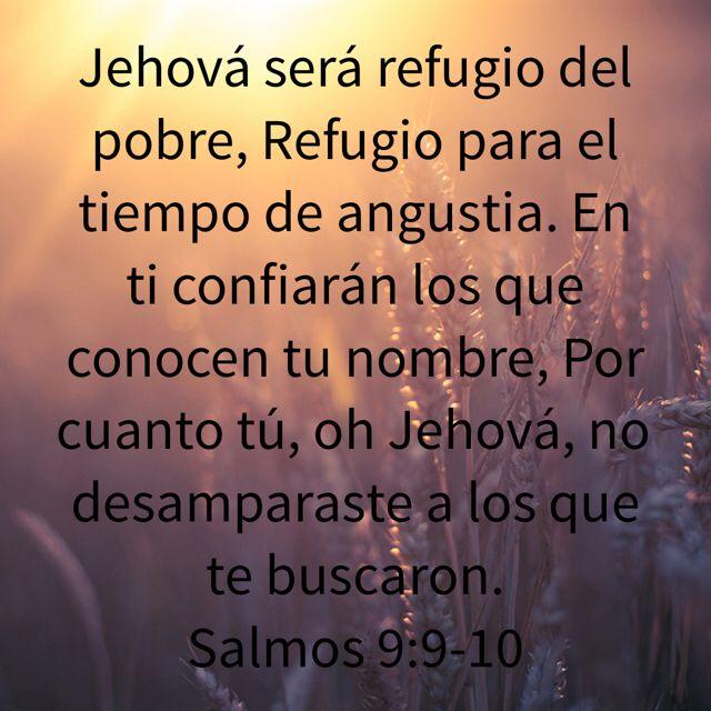 Jehová será refugio del pobre, Refugio para el tiempo de angustia. En ti confiarán los que conocen tu nombre, Por cuanto tú, oh Jehová, no desamparaste a los que te buscaron. (Salmos 9:9-10 RVR1960)