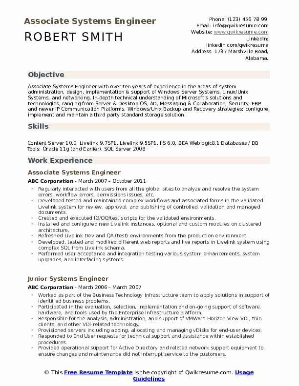 System Engineering Resume Examples Luxury Systems Engineer Resume Samples In 2020 Teacher Resume Examples Resume Examples Teacher Resume Template