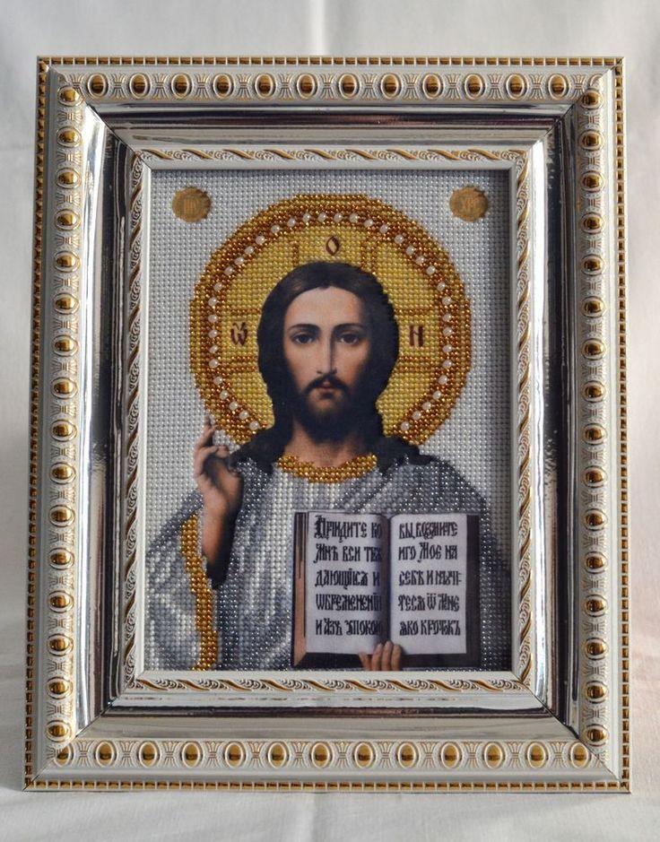 Handmade Bead Embroidery. Icon. Jesus