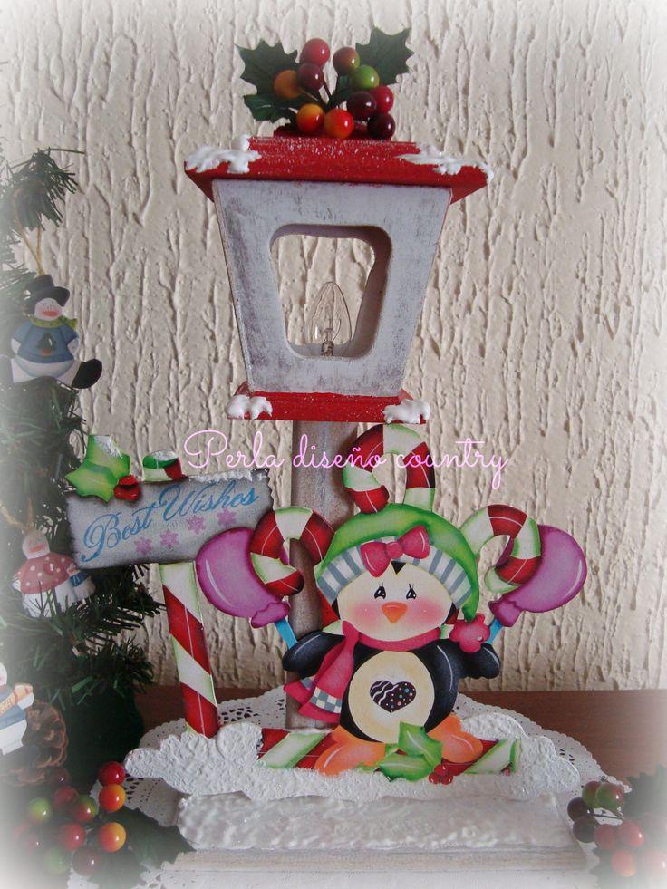 Farol con ping ino para navidad de madera country estilo country navidad pinterest navidad - Como decorar un arbol de navidad ...