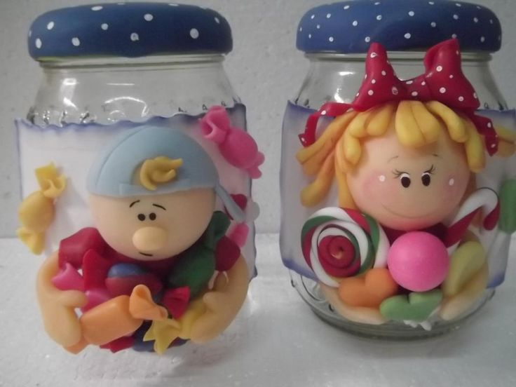 .polymer clay jar characters