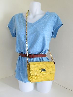 Marc by Marc Jacobs Yellow quilted Lamb Leather Shoulder Bag Purse Chain Strap