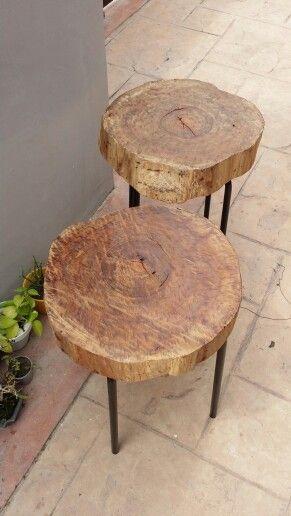 Tree stump bedside tables. Am loving it!