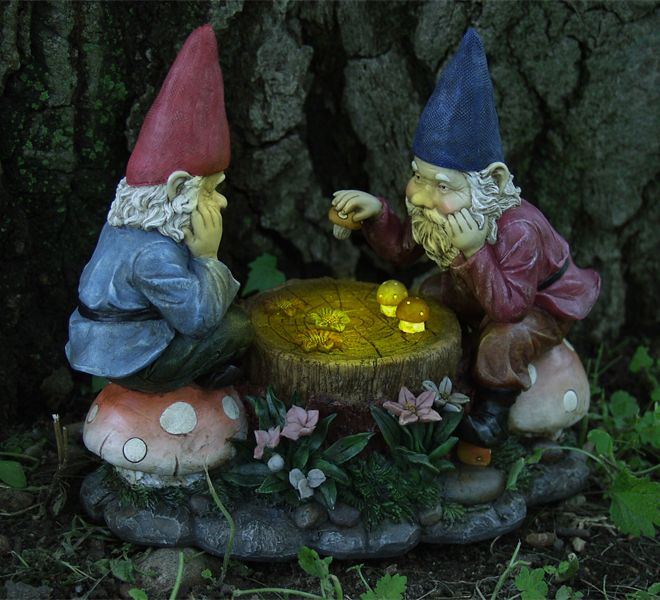 Gnome In Garden: Solar Gnomes Playing Checkers Only $39.99 At Garden Fun