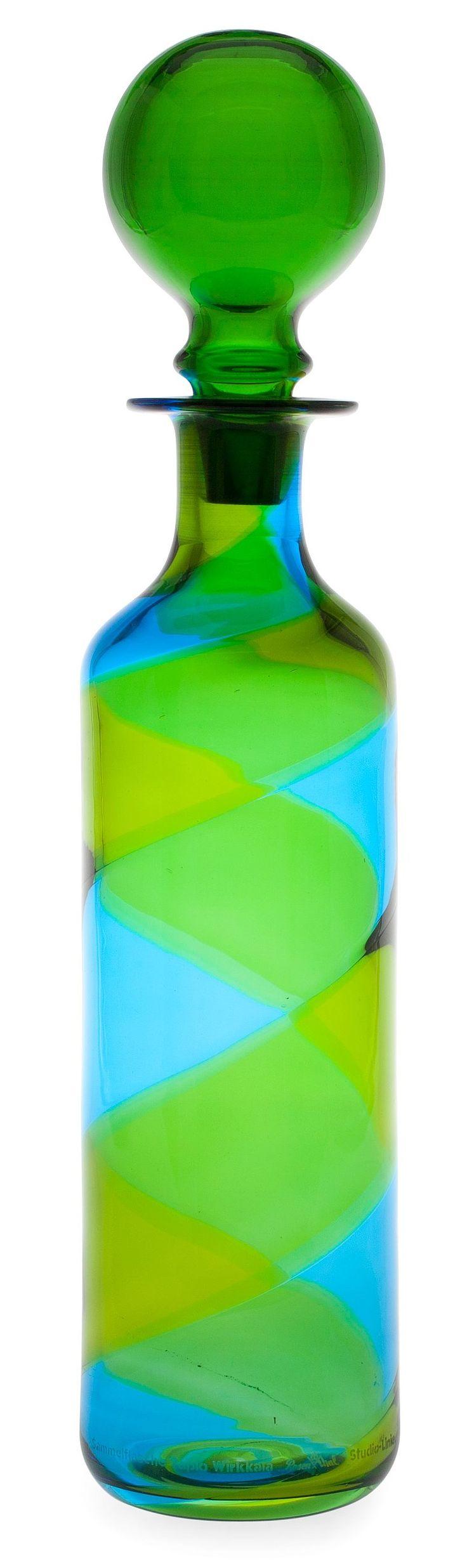 Tapio Wirkkala, Karaff. Art glass green blue