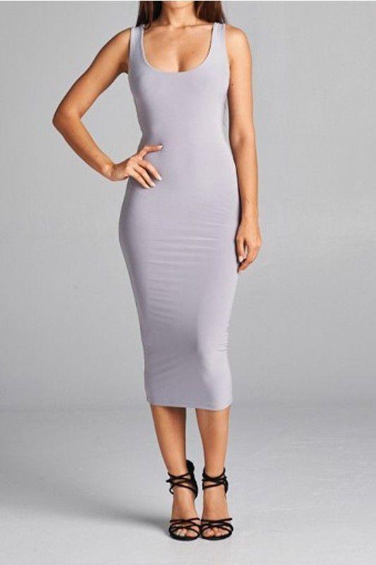 Sleek Silver Bodycon Dress
