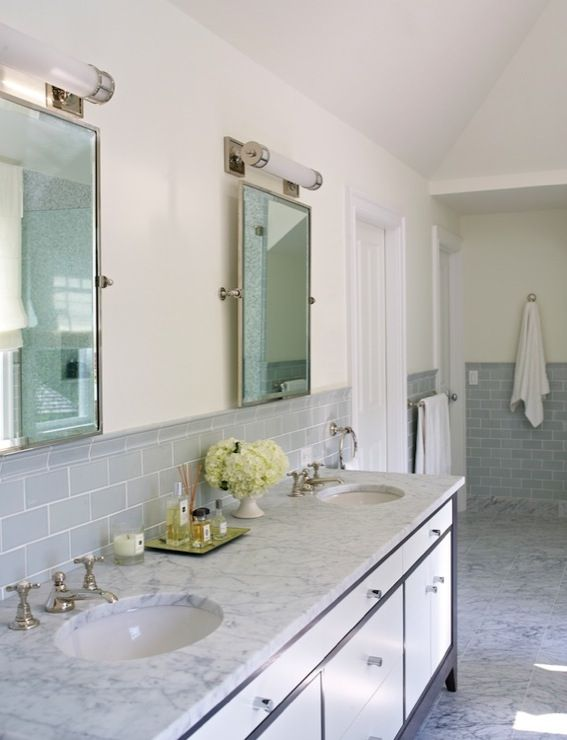 find this pin and more on bathroom by dedwards07 amazing bathroom with gray glass subway tile backsplash. beautiful ideas. Home Design Ideas