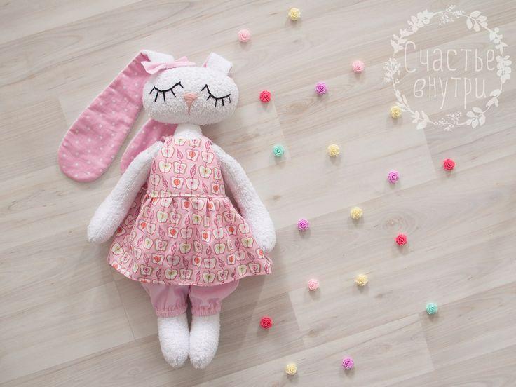 Хлопковый зайка ручной работы, зайка сплюшка, Handmade Сute Bunny