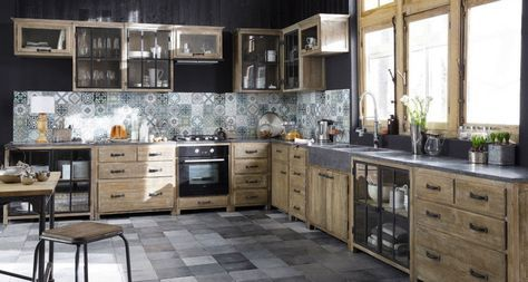 meubles de cuisine ind pendant et ilot maison du monde pierre bleue cuisine en bois et belle. Black Bedroom Furniture Sets. Home Design Ideas