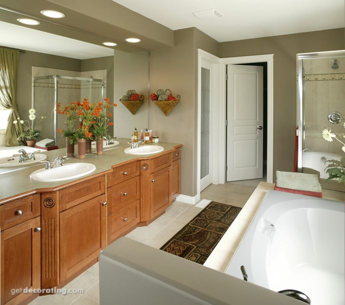 This is my master bath except I have wallpaper that needs to go! I also have granite on my counter tops but, it has to stay.