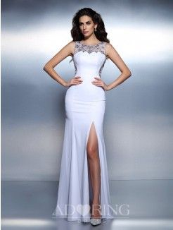 Mermaid Bateau Sleeveless Beading Floor-Length Chiffon Dress