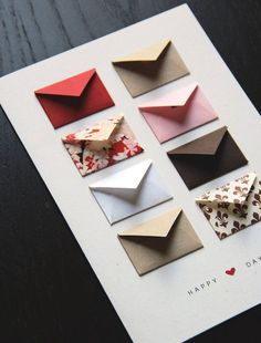 Anniversary Card Idea: one mini envelope for each year together to write a favorite memory from that year(5 memories for 5 years of loving you)