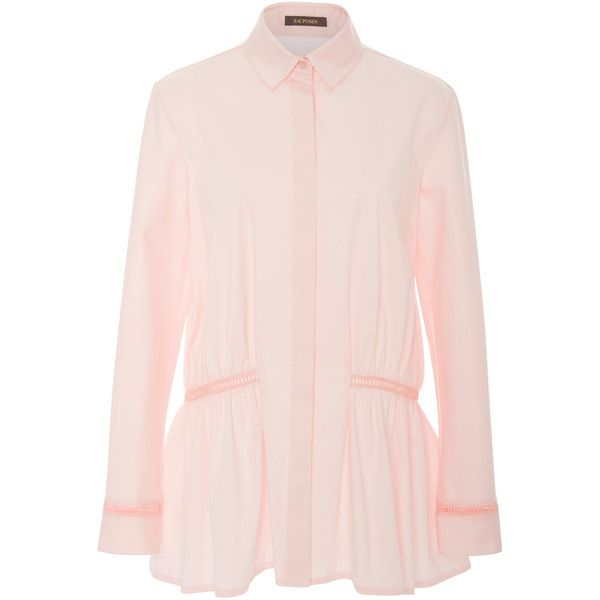 Stretch Cotton Poplin Button-Up Top | Moda Operandi (7.995.000 IDR) ❤ liked on Polyvore featuring tops, pink peplum top, long sleeve peplum top, button up top, long sleeve tops and relaxed fit tops