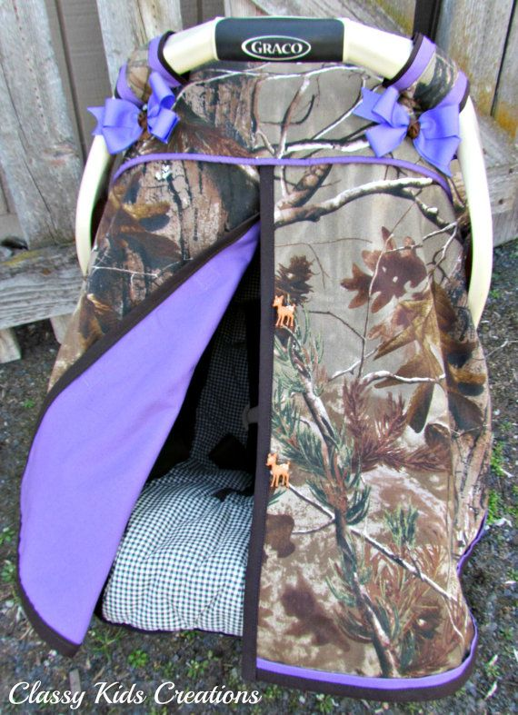 Camo Car Seat Canopy in Realtree AP Camouflage and Purple /Baby Carseat Tent / Infant Carseat Canopy Cover / My Baby Blind