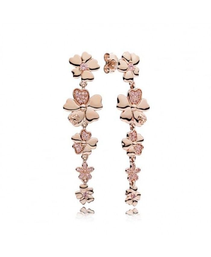 Pandora Rose Wildflower Meadow Drop Earrings Pandora Rose Pandora Rose Gold Pandora Earrings