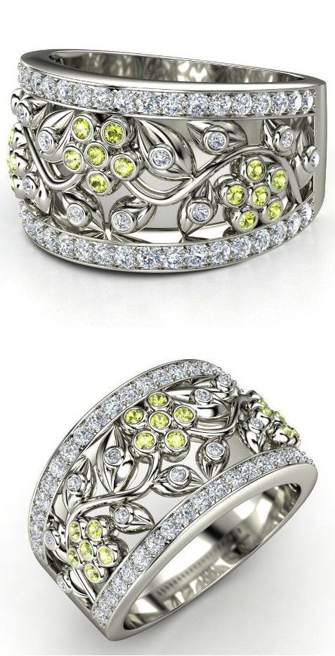 14K White Gold Ring with Peridot & Diamond | Daisy Chain Ring