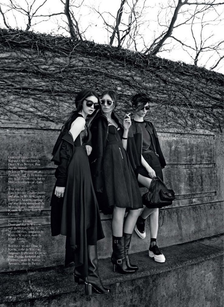 """Rhianna Porter, Josephine Le Tutour and Emily Green in """"We Do What We Want"""" by Thom Kerr for Black Magazine"""