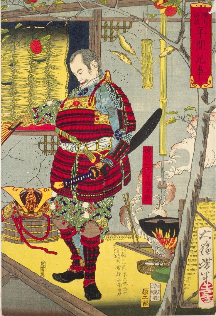 """""""Nishiki-e"""", or multi-colored woodblock print, entitled """"Tokugawa Ieyasu"""" by the artist Tsukioka Yoshitoshi. #Samurai"""