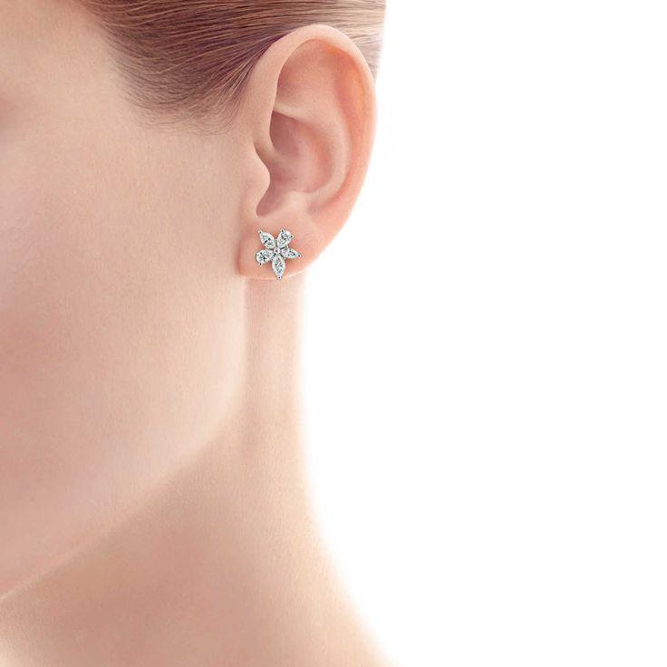 Tiffany Victoria®: pendientes con racimo en talla mixta_model-shot-1