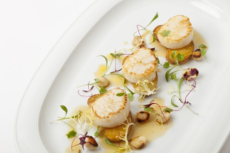 Chef Adam Gray (Skylon, London) | Seared scallops with roasted cobnut salad and maple syrup dressing