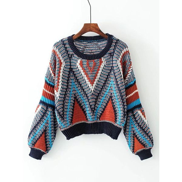 Geometric Pattern Loose Sweater ($25) ❤ liked on Polyvore