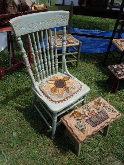 Hooked Chair And Foot Stool