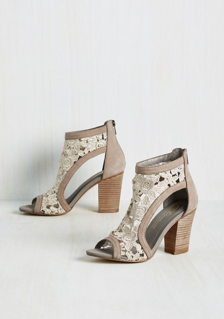 Your Pace or Mine? Heel - Grey, Floral, Cutout, Lace, Daytime Party, Graduation, Wedding Guest, Fairytale, Summer, Best, Peep Toe, Chunky heel, Ankle, Grey, Neutral, Leather, High