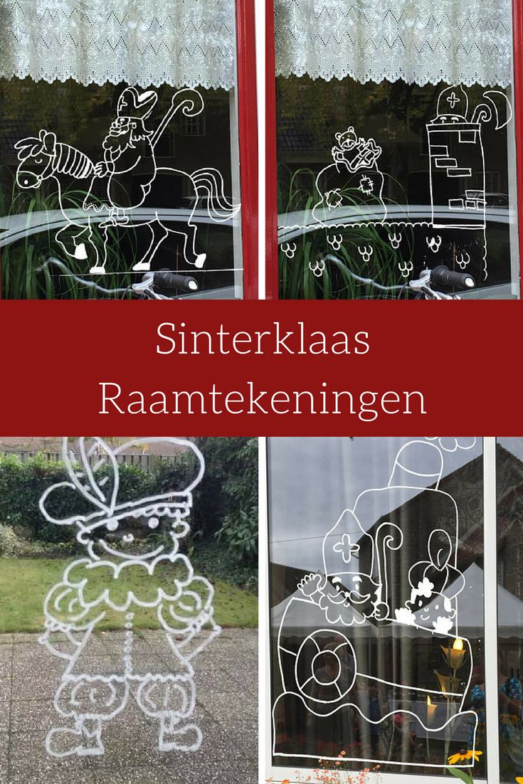 Leuk voor op het raam! Sinterklaas on the horse, Sinterklaas on the roof, Piet (who can give you all the colors you want!) And Sinterklaas and Piet on the steamer #Sinterklaas #DutchHoliday #affiliate #windowdrawing