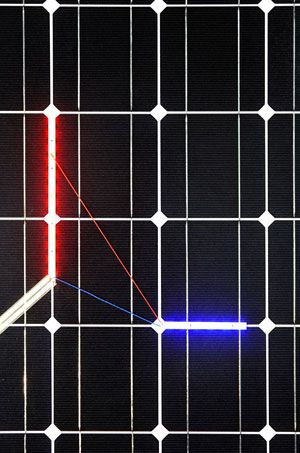 Haroon Mirza Solar Powered LED Circuit Composition 3 ( detail) 2014.  Courtesy of the artist.