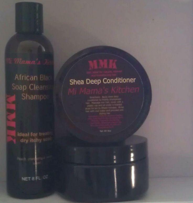 """Mi Mama's Kitchen......""""WE HAVE YOUR HAIR IN MIND!""""   Conditioner and Shampoo 8oz. $9.00 each   *African Black Soap Cleansing Shampoo and Shea Deep Conditioner  Send orders to mimamaskitchen@gmail.com  Traducción al español:   Cocina de Mi Mamá ...... """"TENEMOS TU PELO EN MENTE!""""   Acondicionador y 8 oz Shampoo. $ 9.00 cada uno   * Jabón Negro Africano Cleansing Champú y Shea Acondicionador Profundo    Enviar órdenes a mimamaskitchen@gmail.com"""