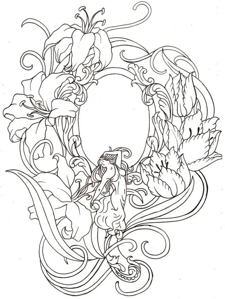 Art Nouveau Hand Mirror Tattoo By Metacharis On