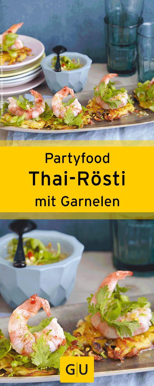 """Fingerfood für die Silvesterparty: Rezept für feine Thai-Rösti mit Garnelen. Ihr findet es in der Leseprobe zum Buch """"Partyrezepte"""".⎜GU"""