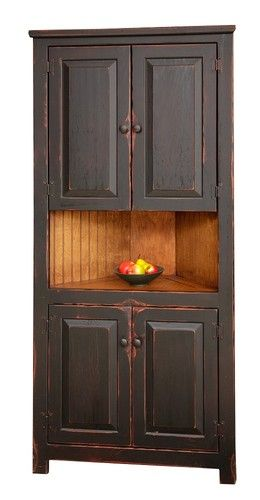 Primitive Rustic Corner Cabinet Pantry Country Kitchen Cottage Furniture Wood | eBay