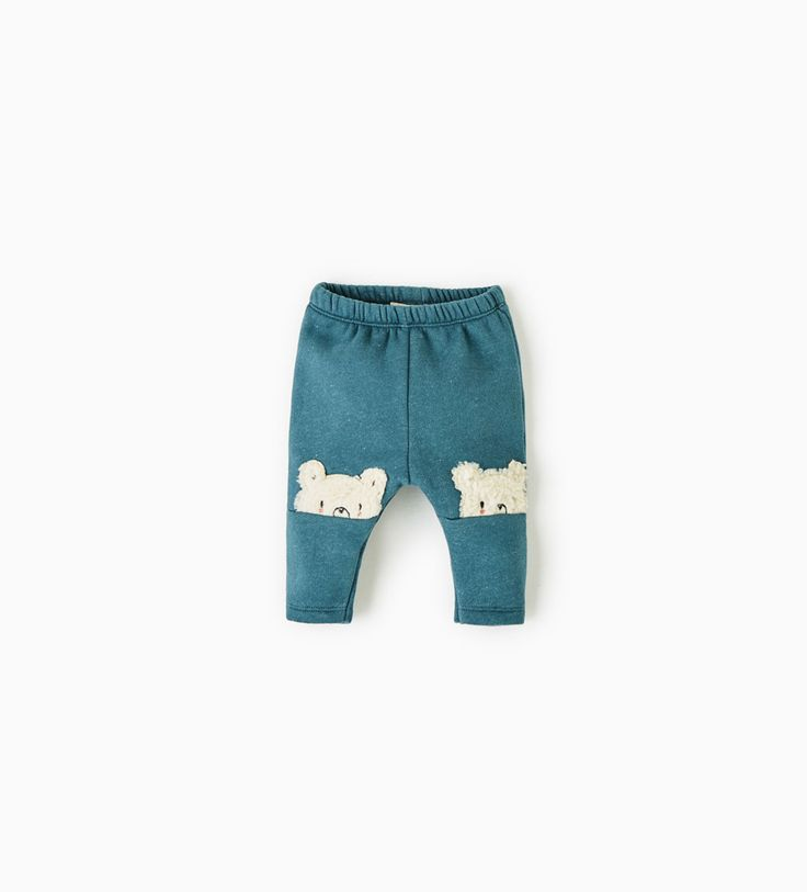 Image 1 of LEGGINGS WITH FLEECE BEAR CUBS ON THE KNEES from Zara