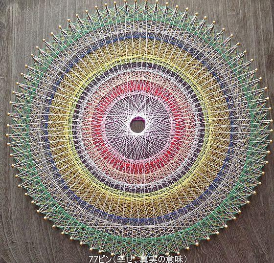 色々なピン数で作成した糸かけ曼荼羅です。変容、新しい誕生、調和、真実の意味、幸せ、豊かさです。