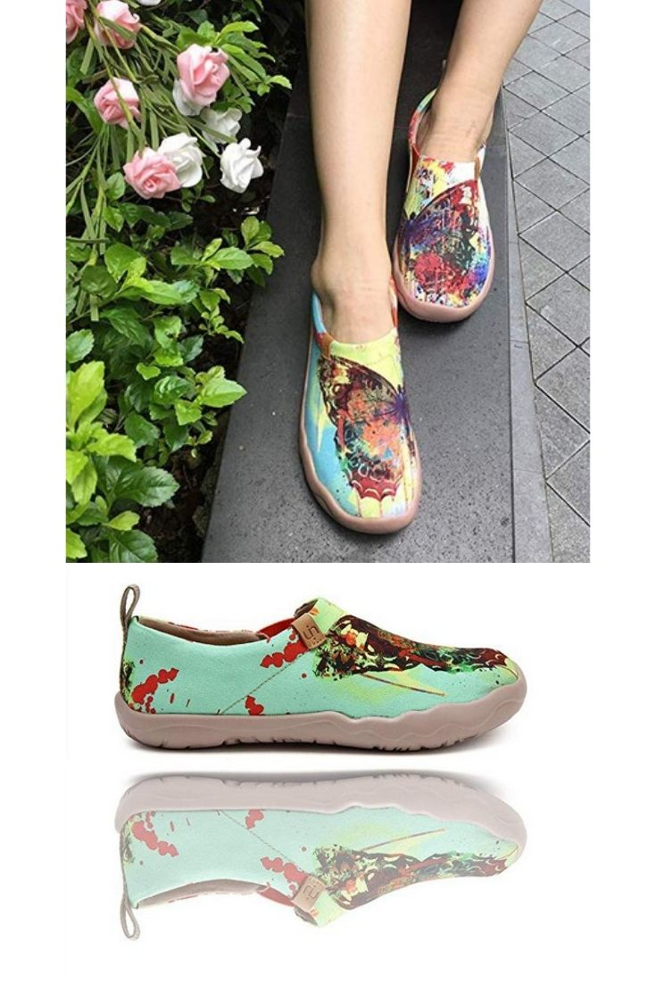 UIN Women's Butterfly Painted Canvas
