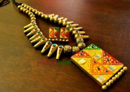 Terracotta Rajasthani mirror and kundan inspired set