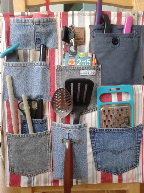 Q. What does left over VW camper van curtain fabric & son's old jeans give you? A. A tidy van & no most lost keys!