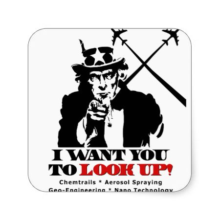 Uncle Sam says I Want You To Look Up Square Stickers