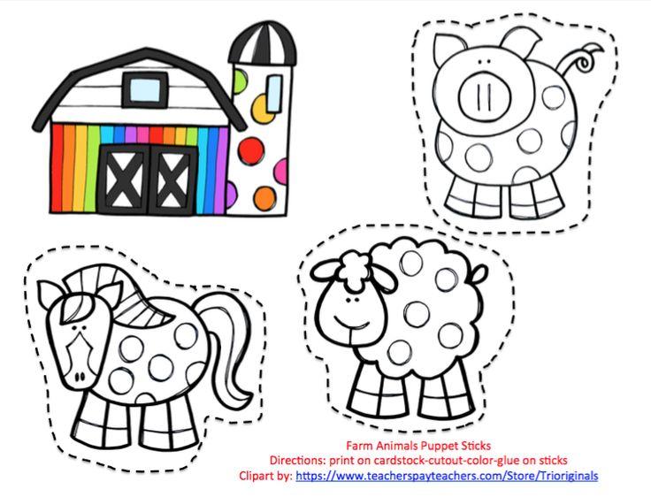 Free Farm Animal Puppet Sticks Preschool Printables
