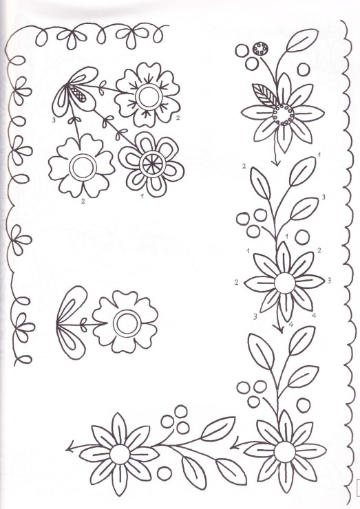 Flores para bordar en esquina 2