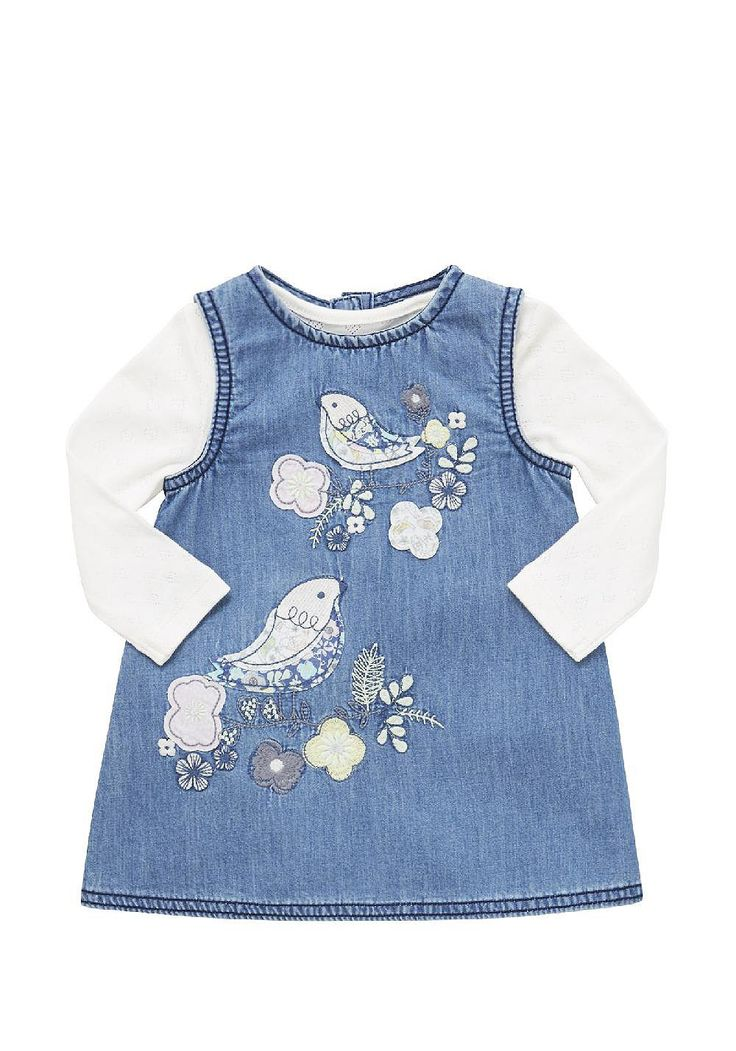 Tesco direct: F&F Embroidered Denim Pinafore and Pointelle Bodysuit Set