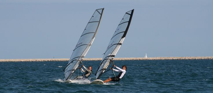 Olympic windsurfers in training. Sailing. Solent. Channel. Irish Sea. UK. Yacht racing.