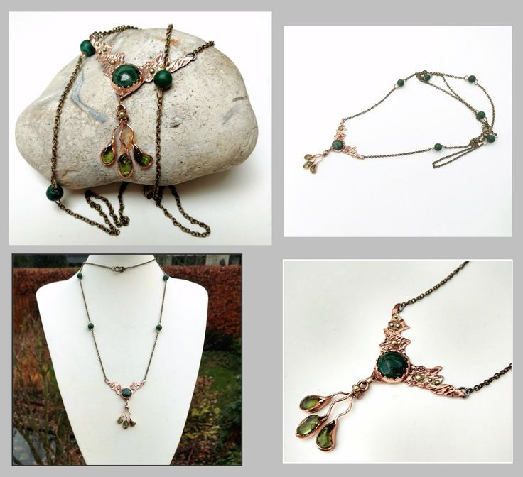 Opera length green stone copper and bronze necklace