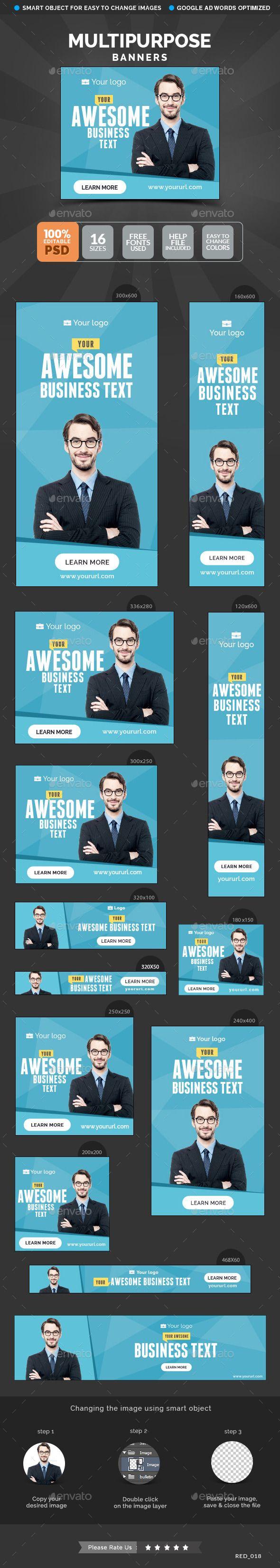 Multipurpose Banners Template PSD #banner #webbanner #design Download: http://graphicriver.net/item/multipurpose-banners/10654611?ref=ksioks