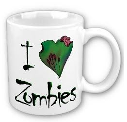 Love zombies? Love this I Heart Zombies coffee mug.